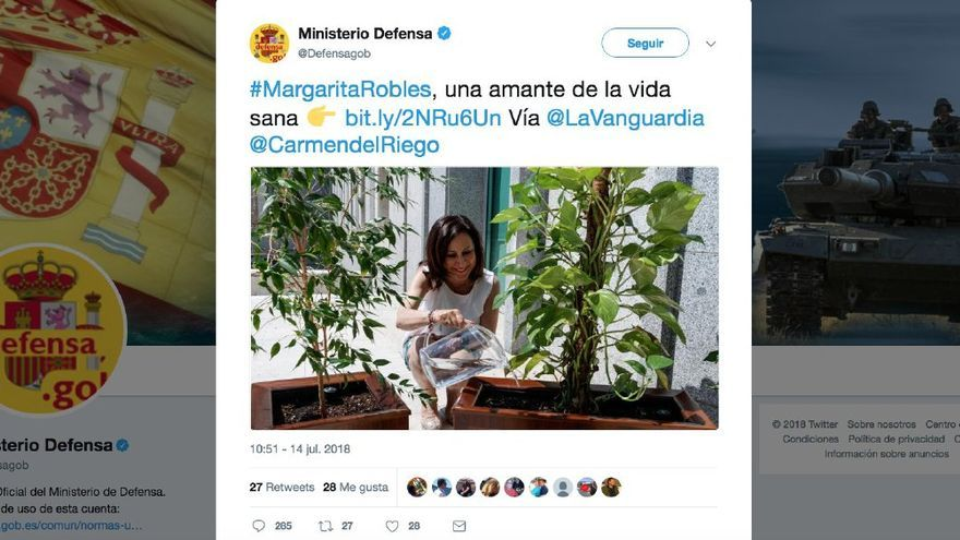 Captura del tuit del Ministerio de Defensa