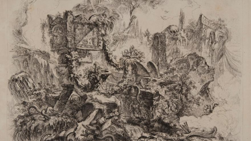 Capricho grotesco. La tumba de Nerón. Opere varie. 1750./Fondazione-Giorgio-Cini-Venecia