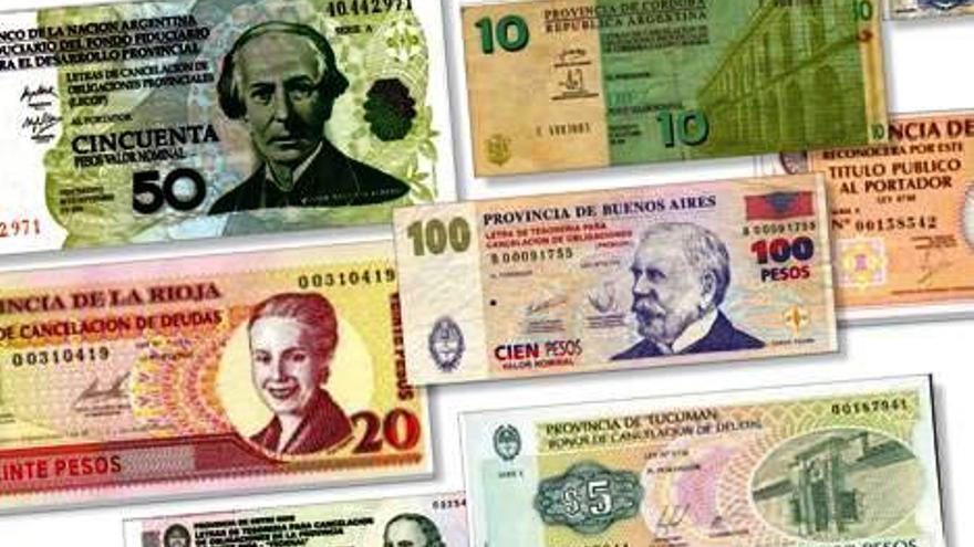 Algunas de las cuasimonedas que circularon en Argentina durante los años de la crisis económica. FOTO: finanzasblog