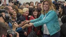 Susana Díaz celebra la victoria en las elecciones de este domingo / EFE