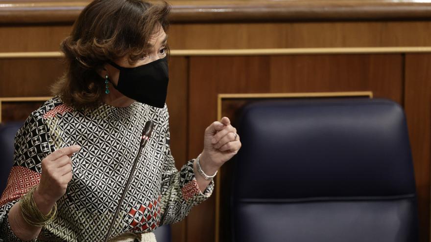 La vicepresidenta primera y ministra de la Presidencia, Relaciones con las Cortes y Memoria Democrática, Carmen Calvo,