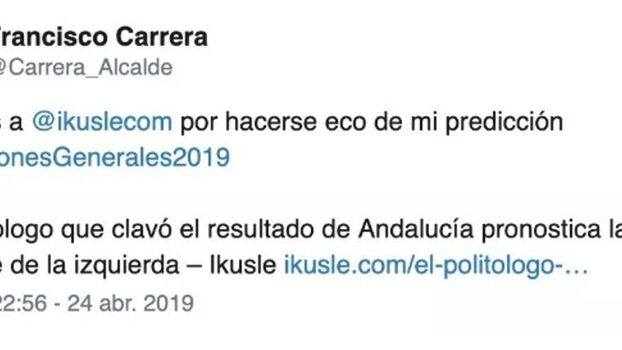 Otro tuit de Francisco Carrera.