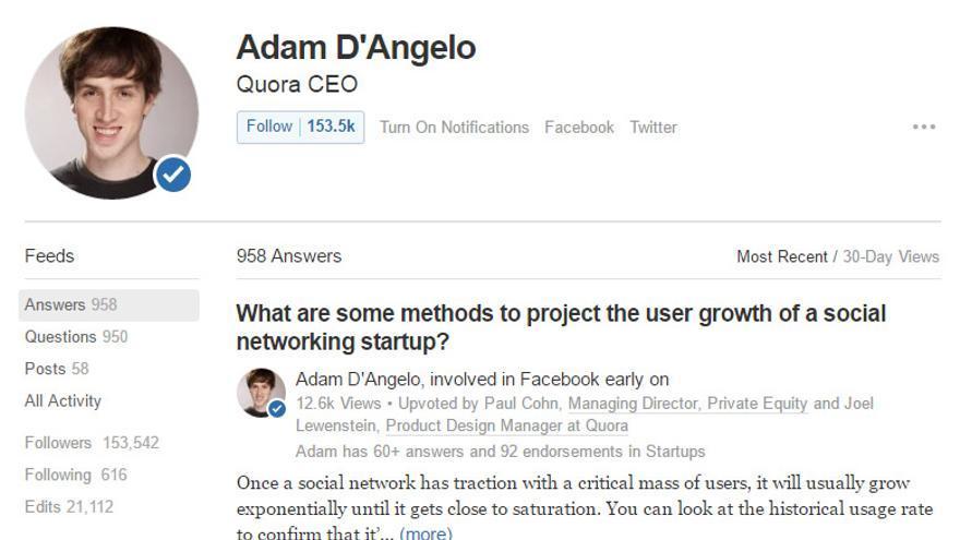 El perfil de Adam D'Angelo en Quora