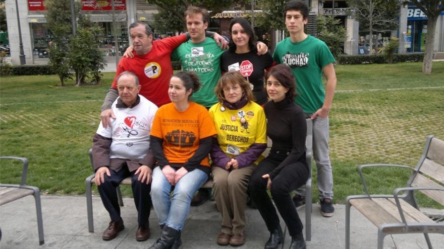 Los portavoces de las diferentes 'mareas' de Valladolid, tras la rueda de prensa.
