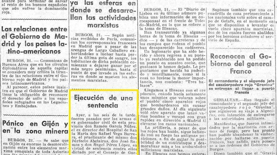 Noticia del fusilamiento del doctor De Vega, en El Progreso el 22 de octubre de 1936
