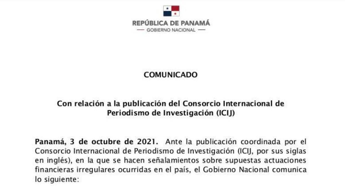Comunicado del Gobierno de Panamá