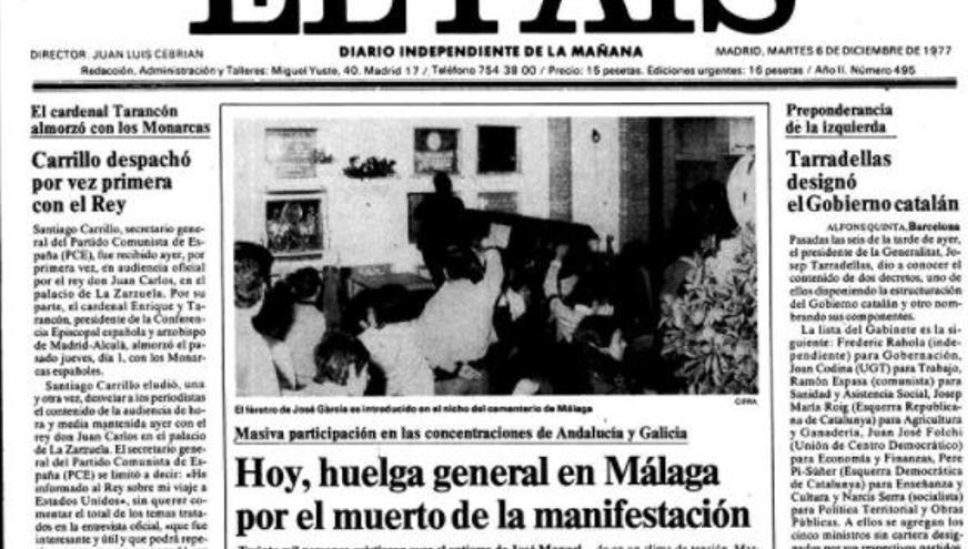 Portada del diario El País el 6 de diciembre de 1977 destacando el asesinato de García Caparrós
