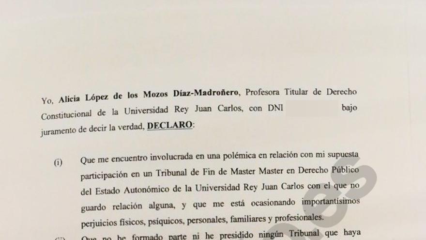 El documento con la declaración de la profesora Alicia López de los Mozos.
