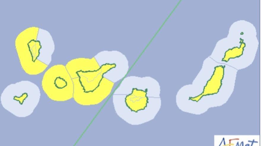 Mapa de la Aemet de los avisos de riesgo por viento, fenómenos costero y calima.