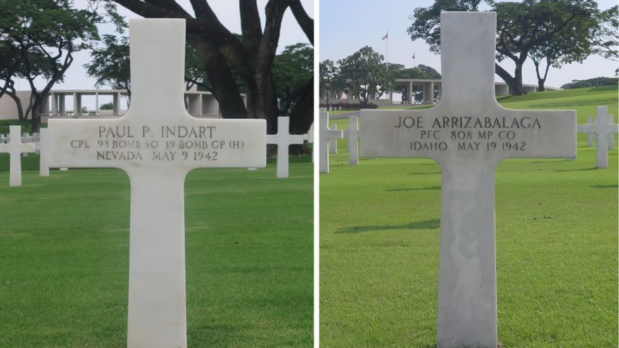 Ambos Indart y Arrizabalaga están enterrados en el Cementerio y Memorial Americano de Manila y recibieron el Corazón Púrpura a título póstumo (Manila American Cemetery and Memorial)