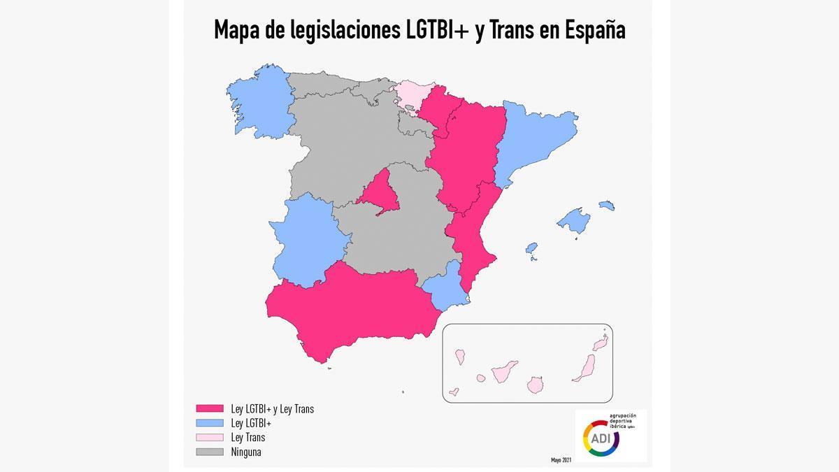 Mapa de legislaciones LGTBI+ y trans de España