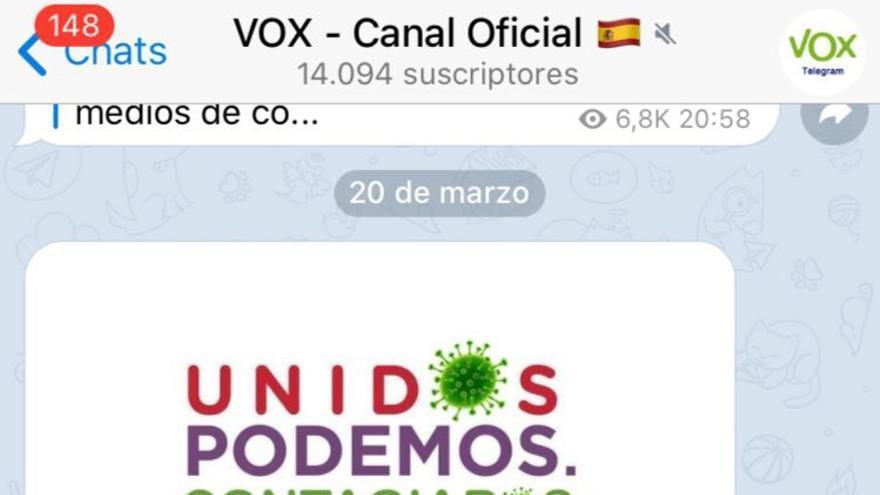 Mensaje en el grupo oficial de Vox en el que la formación comparte propaganda que asocia a PSOE y Unidas Podemos con el coronavirus con objetivo de que sus simpatizantes la compartan en sus redes