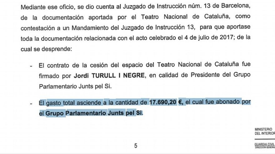 Detalle del pago de JuntsxSí espacio por la cesión del Teatro Nacional de Cataluña