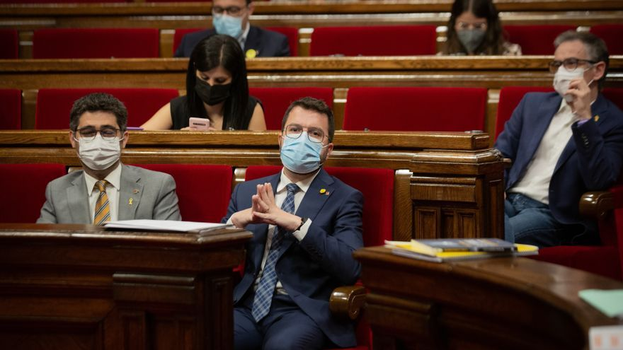 El presidente de la Generalitat, Pere Aragonès, durante la sesión de control al presidente del pleno del Parlament