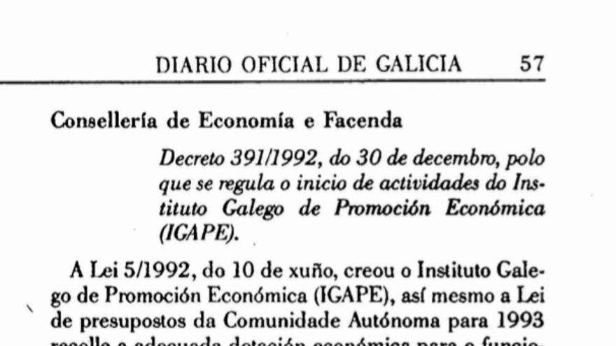Uno de los decretos de creación del Igape en 1993