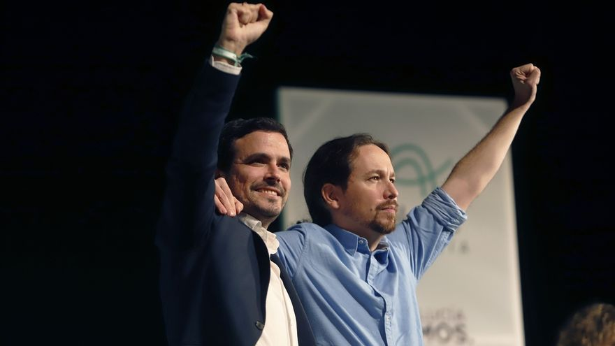 Los líderes de IU y Podemos, Alberto Garzón y Pablo Iglesias.