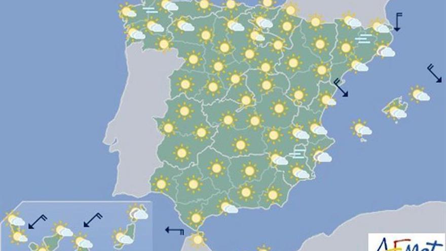 Hoy, tiempo estable y temperaturas al alza en casi toda España