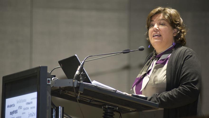María Silvestre, socióloga y profesora de la Universidad de Deusto durante un discurso / FOTO: Emakunde