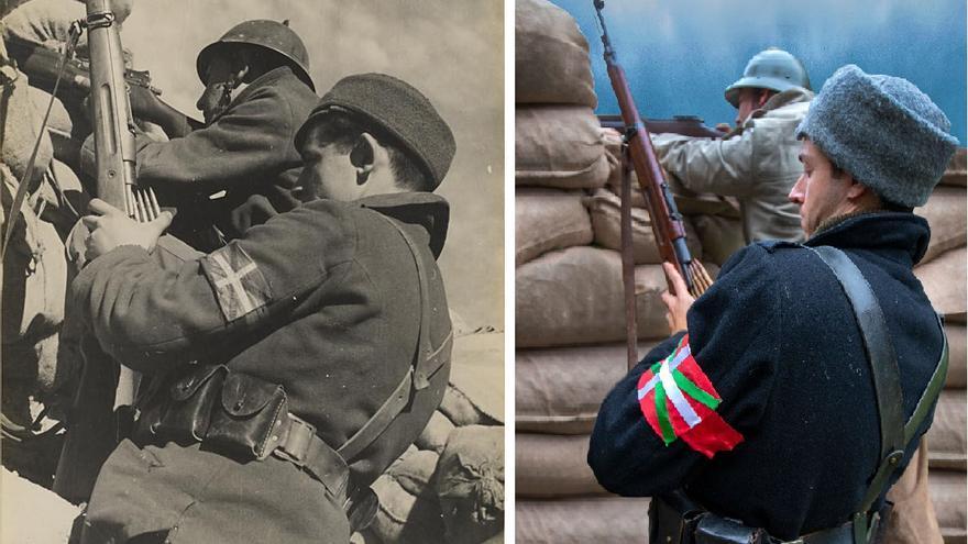 La mítica imagen del miliciano vasco en Madrid se hizo muy popular e incluso fue confundida con la de un brigadista británico. Lleva un fusil polaco mientras que su compañero tiene un Enfield P-14  (fotografía Alma & You Photography y original de Albero y Segovia en el Archivo Rojo).