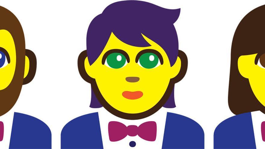 El 'emoji' femenino, neutro y masculino propuestos por el diseñador Paul Hunt