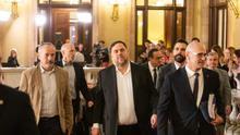 Junqueras y los exconsellers presos regresan al Parlament para comparecer en la comisión del 155