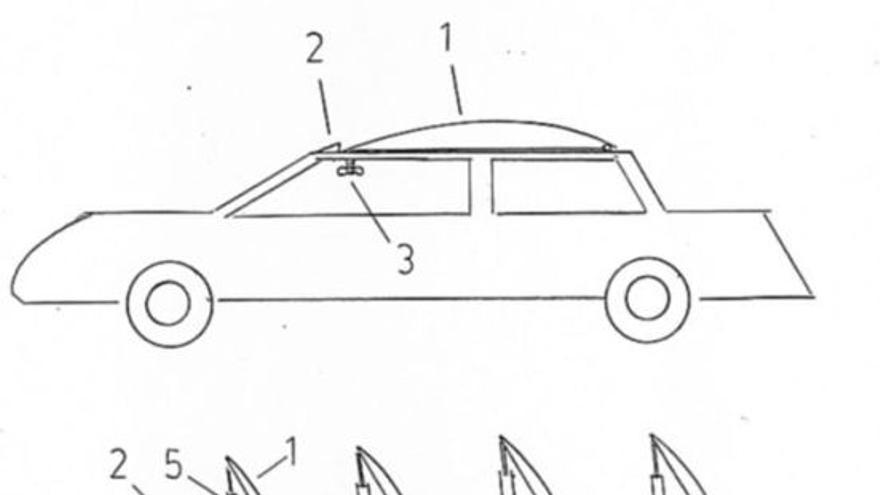 Imagen del invento de un freno aéreo para coches camiones y autobuses, de Javier Porras.