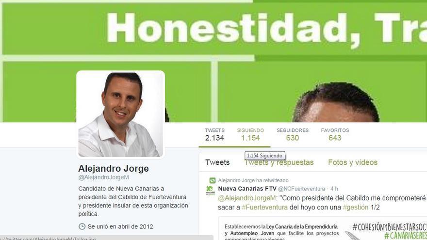 Pantallazo de la cuenta de Twitter de Alejandro Jorge.