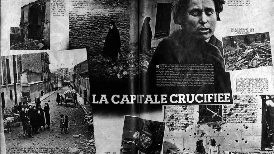 Doble página interior de la revista Regards con la fotografía de Capa, 1936