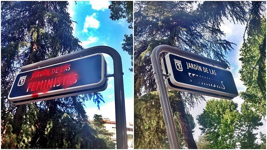 Pintadas en ambos lados de la placa del Jardín de las Feministas | SOMOS MALASAÑA