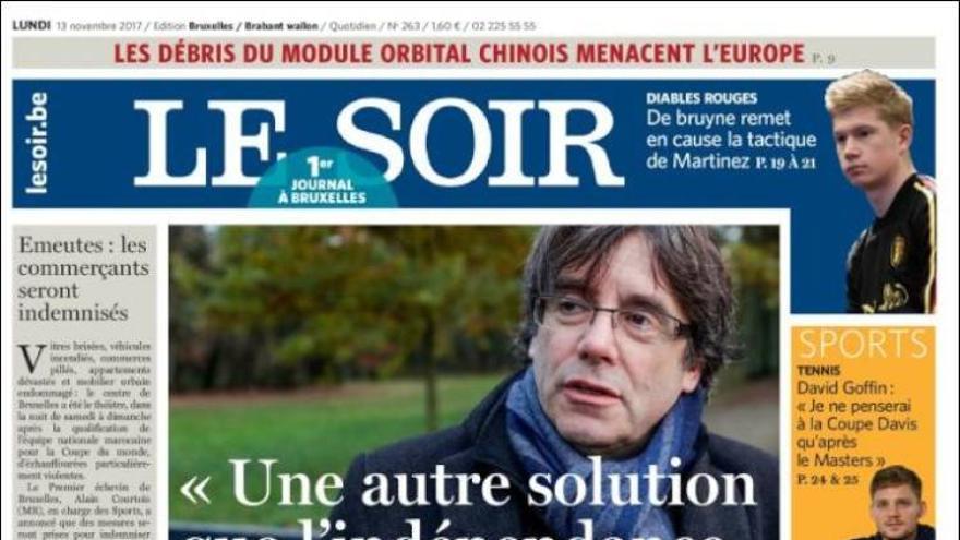 """Carles Puigdemont en la portada de Le Soir: """"otra solución que no sea la independencia es posible"""""""