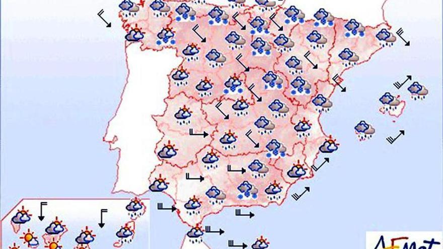 Precipitaciones y viento fuerte en gran parte de la Península