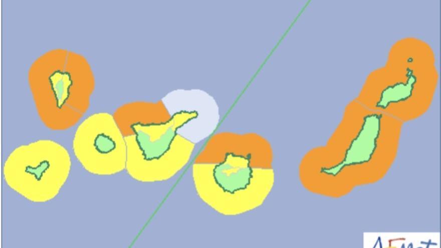 Mapa de la Aemet de los avisos de riesgo por viento y fenómenos costeros para el domingo, 7 de enero de 2018.