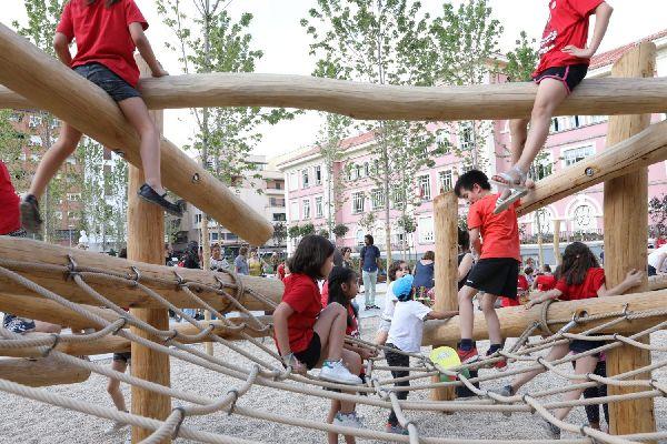Zona infantil de los Jardines del Arquitecto Ribera | Fotografía: Ayuntamiento de Madrid