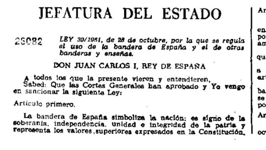 Ley que regula el uso de la bandera de España. Artículo primero.