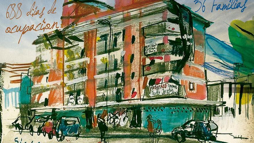 Dibujo de Inma Serrano para el cartel de 'Habitar la Utopía'.