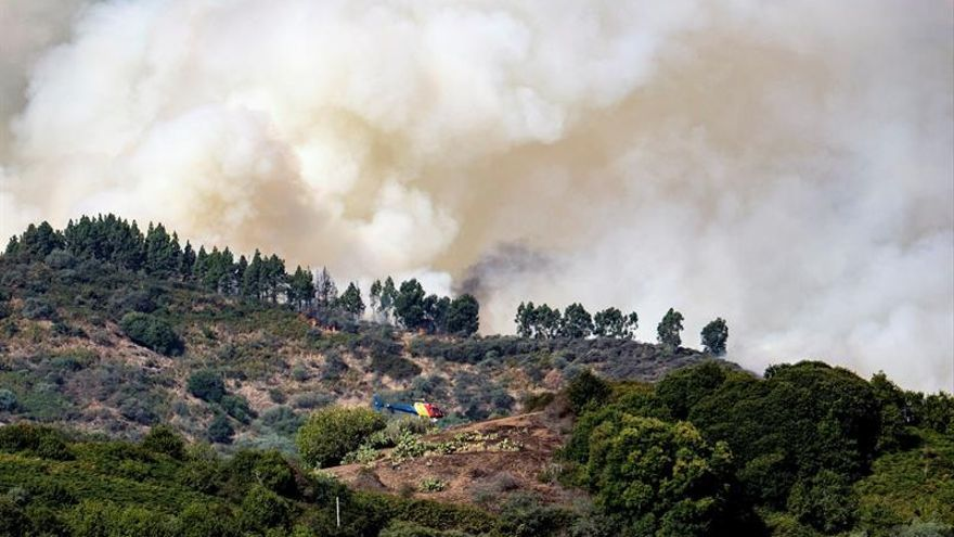 Vista del incendio forestal que comenzó el sábado en la isla española de Gran Canaria y que ha obligado a evacuar de sus viviendas a 2.000 habitantes de seis poblaciones afectadas