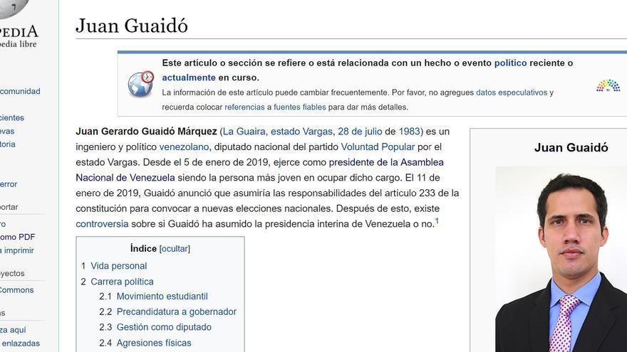 Imagen de la página de Wikipedia de Juan Guaidó, motivo del presunto bloqueo de la enciclopedia colaborativa por parte del Gobierno venezolano.