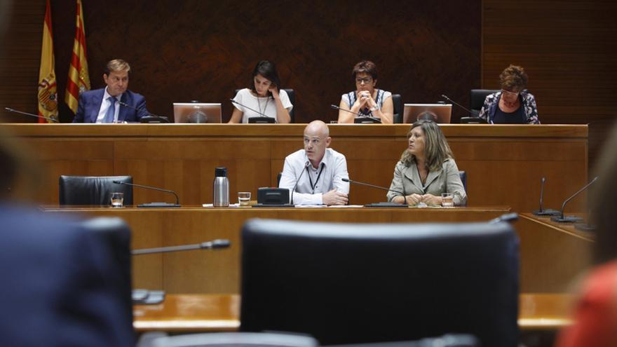 Los representantes de los padres, ayer, durante su comparecencia en las Cortes