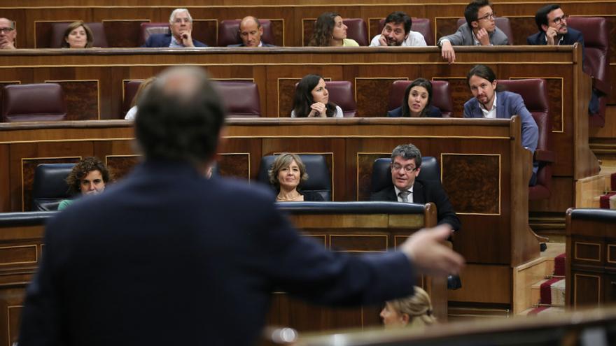 Mariano Rajoy durante la moción de censura en el Congreso de los Diputados.