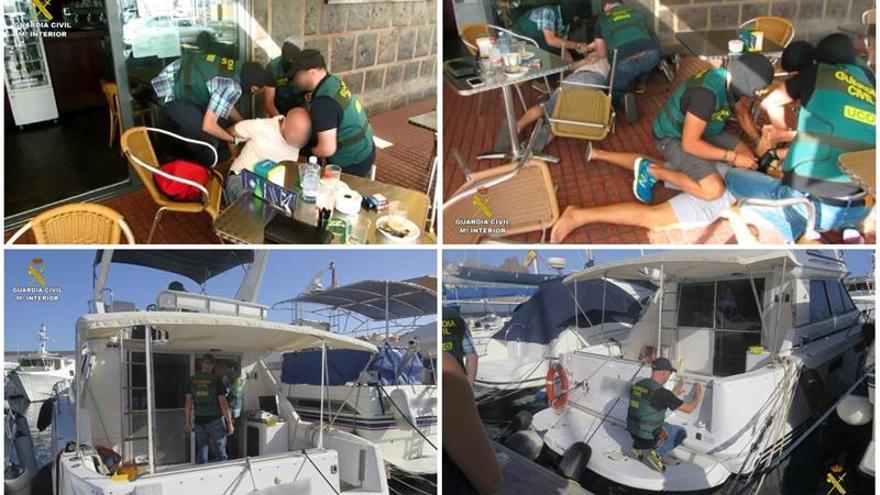 Fotografías facilitadas por la Guardia Civil, del momento del arresto de dos de las 12 personas que han sido detenidas en Las Palmas de Gran Canaria.