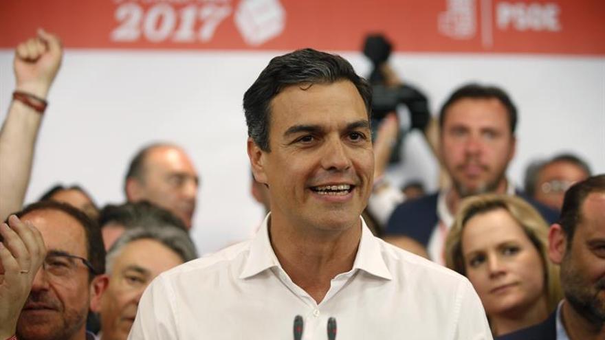 Pedro Sánchez tras ganar las primarias.
