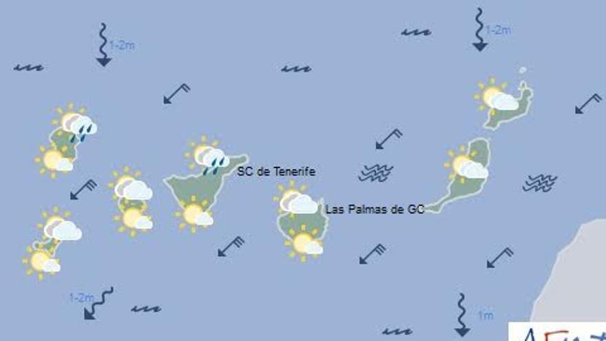 Mapa con la previsión del tiempo para este domingo, 13 de noviembre