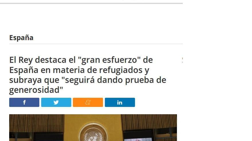 Cita de Felipe VI en la ONU sobre los refugiados, recogida por la agencia Europa Press.