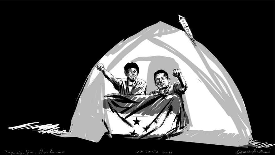 Una ilustración que retrata a dos de los miembros de la acampada./ Germán Andino