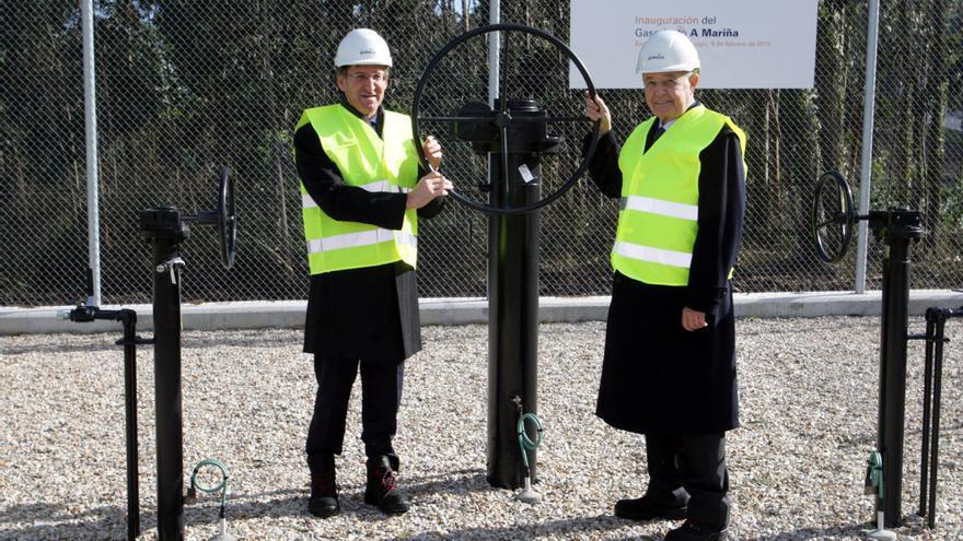 Feijóo, en la inauguración en 2015 del gasoducto cuyo permiso ahora anula el Tribunal Supremo