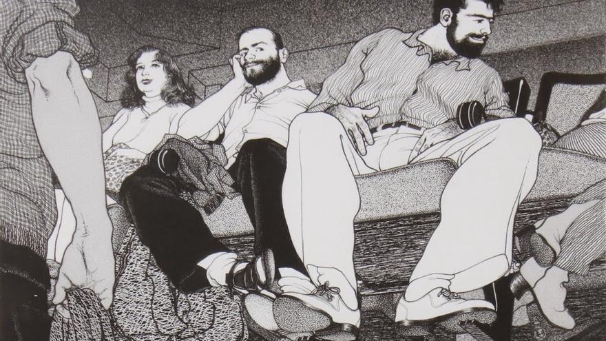 Sección de uno de los característicos dibujos de Rodrigo.