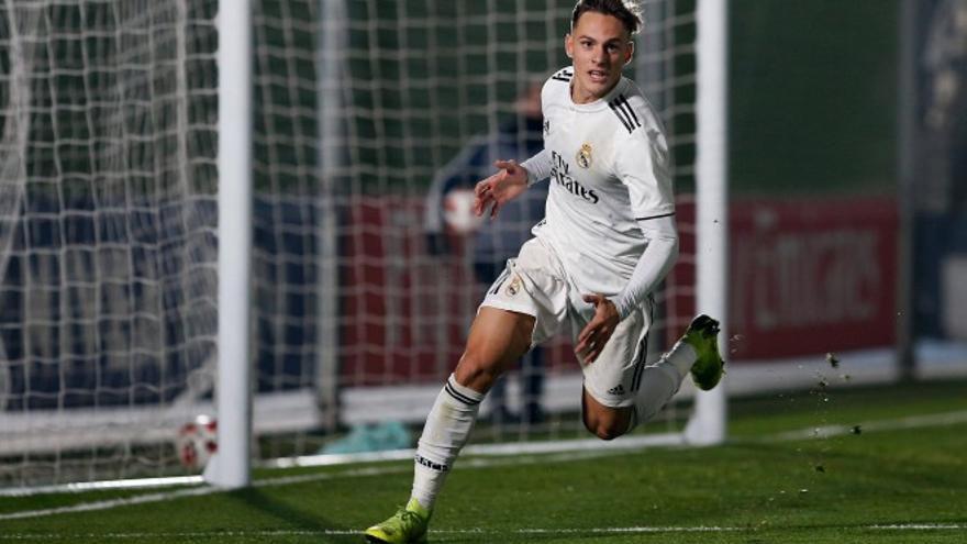 Dani Gómez, en acción con el filial del Real Madrid