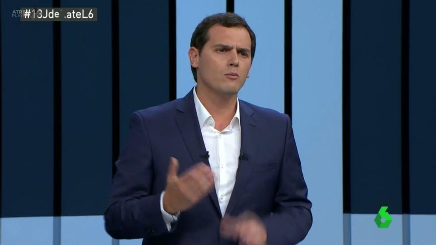 El líder de Ciudadanos, Albert Rivera, durante su intervención en el debate a cuatro