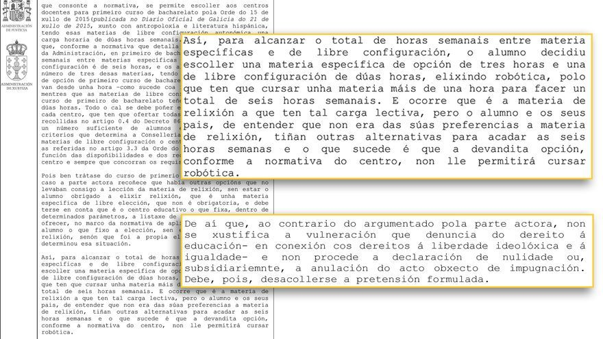 Fragmentos de la sentencia, a la que ha tenido acceso Praza.gal