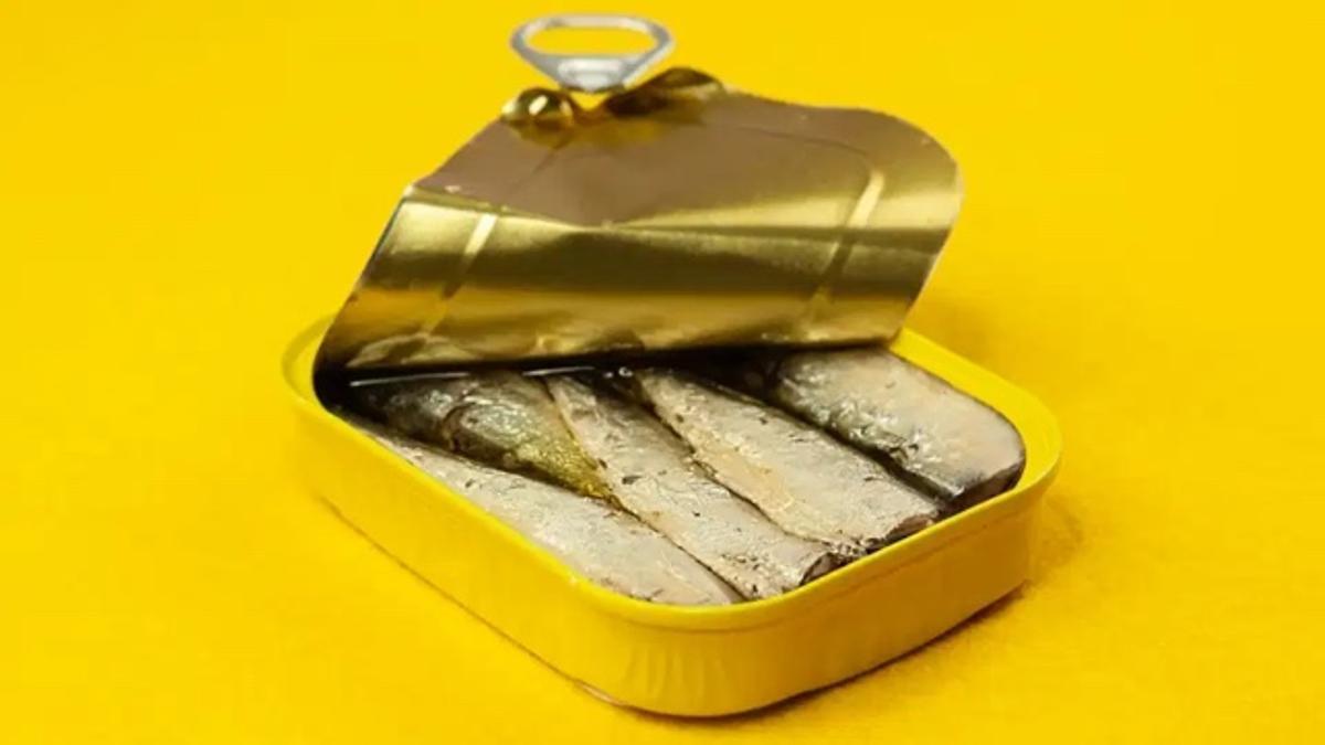 Lata de sardinas abierta.